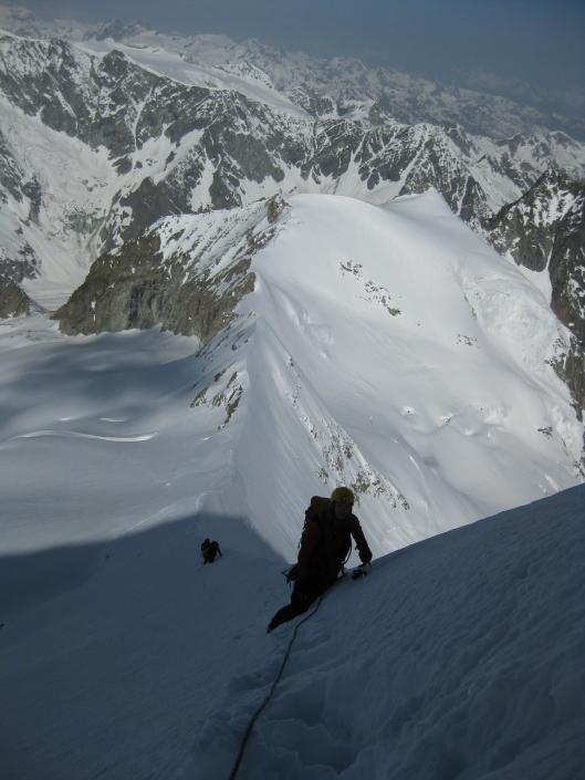 Brenda richting de top van de Obergäbelhorn