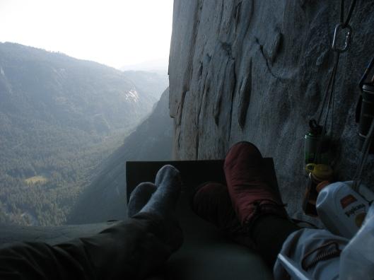 An en Sanne in CampVI, the Nose, El Cap