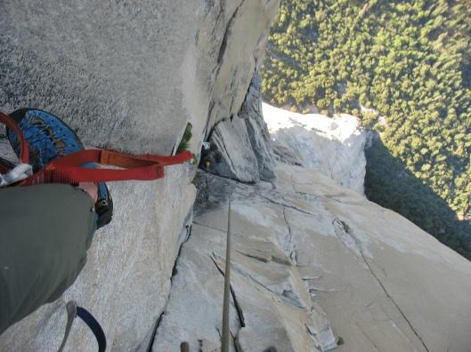 Changing corners, high up on El Capitan