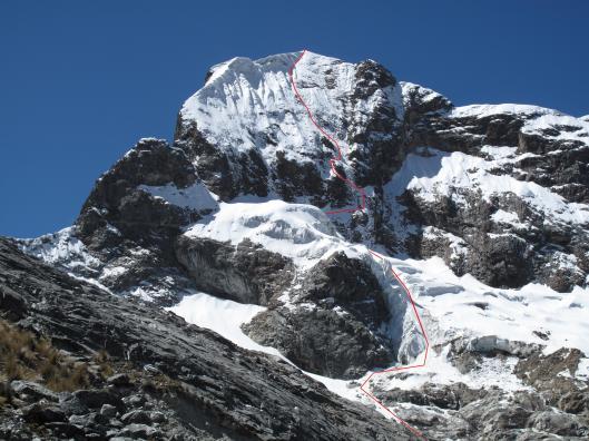 Churup (5493m) met de geklommen route
