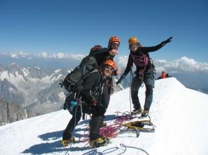 Marijke, Jonas en An op Mt Blanc 4810m ©Sanne