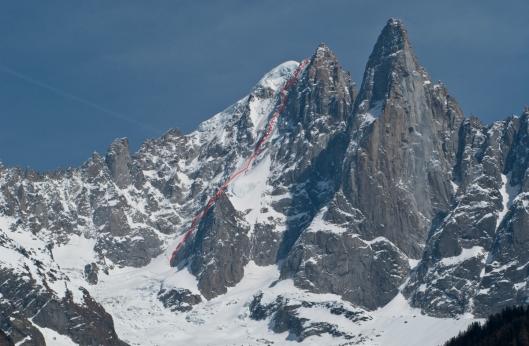 Onze route op Nant Blanc/ Aiguille Sans Nom