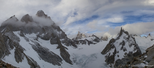 From left to right, Aguja Guillaumet, Aguja Mermoz, Cerro Fitz Roy, Cerro Torre, Torre Egger Aguja Standharrdt and Aguja Pollone