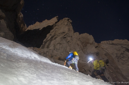 Domen and Tim climbing the first 1000m of the couloir