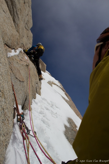 Domen climbing some mixed pitches to the ridge, almost reaching our high point
