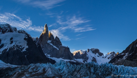 Cerro Torre catches the eveningsun