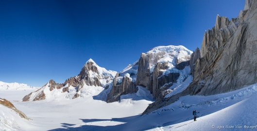 Tim approaching the westside of Cerro Torre, Cerro Rincon and Circo in the backg