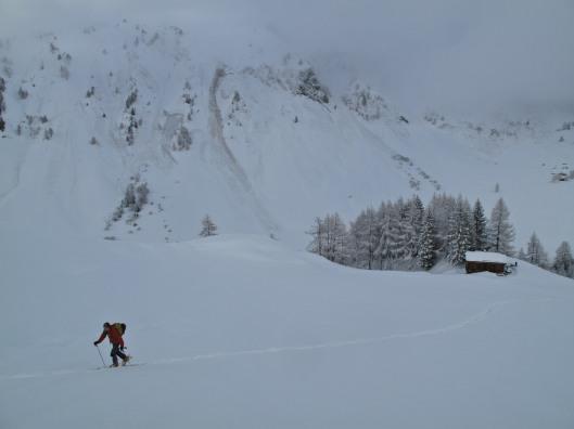 Sneeuw & warmte, nooit goed voor de stabiliteit van het sneeuwdek.  (c) YdB