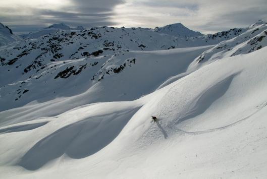 Yannick tijdens de afdaling van de Winterspitze