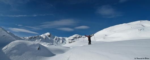 Frank Saeys aan het genieten van de Zwitserse bergen, goede sneuw en zon