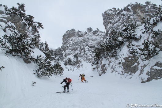 Met de ski's naar boven...