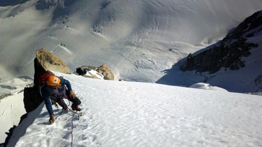 Friedemann in het laatste sneeuwveld op de Chardonnet ©Jeroen