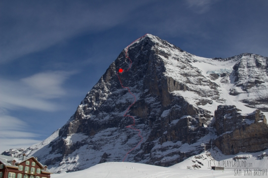 The 1938 Route on the north face of Eiger. The red dot is our bivy