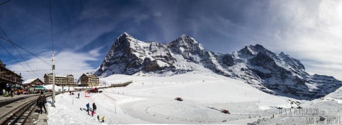 The classic view from Kleine Scheidegg. Eiger, Monch Jungfrau