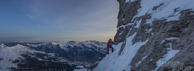 Early morning while Maxime approaches the Difficult Crack