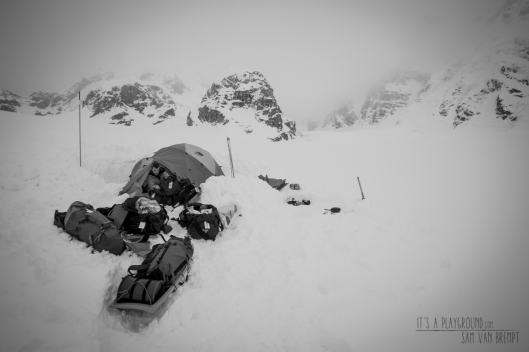A snowy day at Kahiltna Basecamp