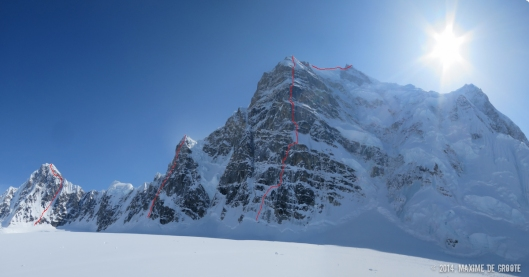 From left to right: Kahiltna Queen West Face (1000m, IV 60° ), Mini Moonflower North Couloir (600m, IV 85° ), Mt Hunter Bibler-Klewin (1800m, VI )