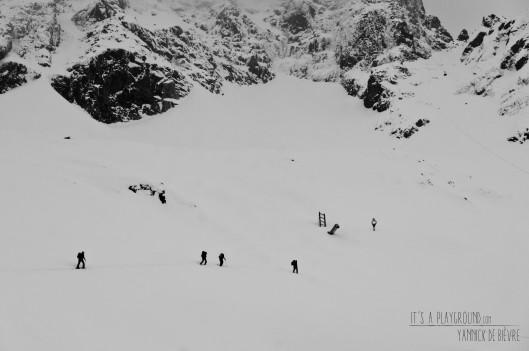 Grijs en grauw onder de noordwand van de Aiguille du Midi