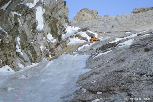 Sam in search of ice on the crux of Mini Moonflower