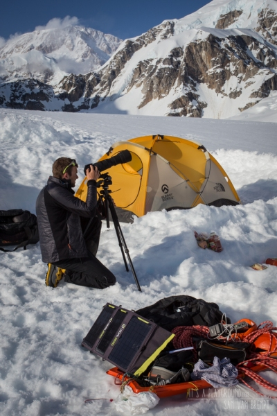 Checking conditions on the face. A Goal Zero Nomad 20 with a Sherpa 100 to keep everything up and running