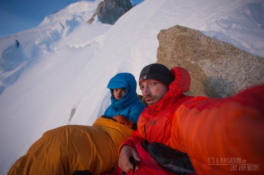 Early morning on top of the Butress, our last bivy