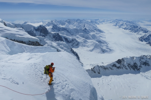 Sam navigating trough seracs on their west ridge descent