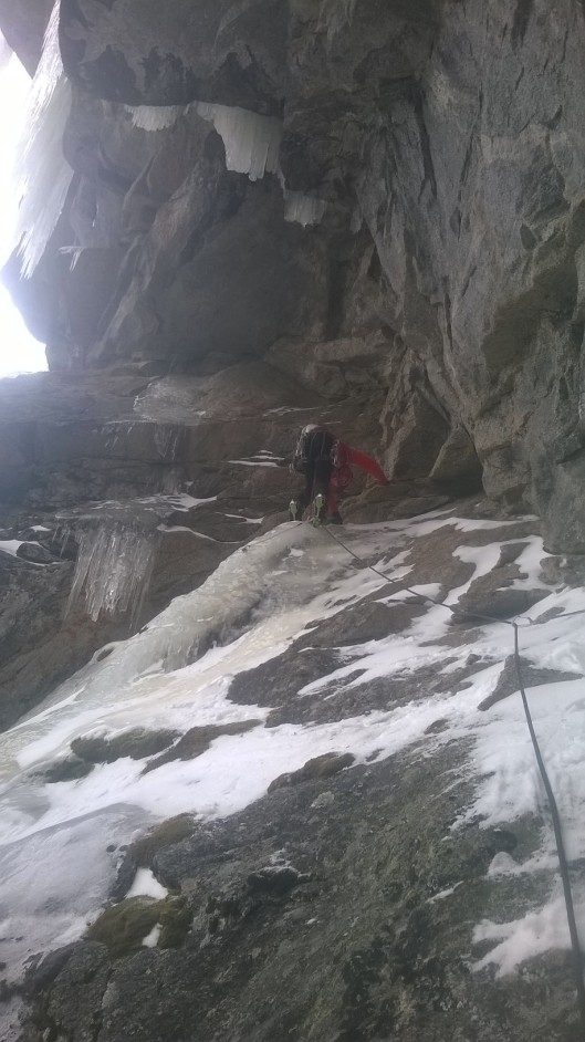 Kurt Ross climbing thin ice and slabs