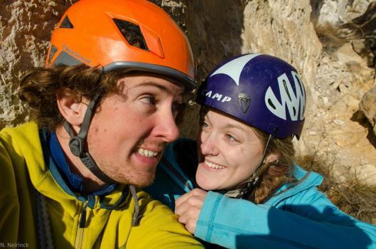 """Onderaan de laatste lengte van """"La Grotte"""". Nu nog aan't lachen"""