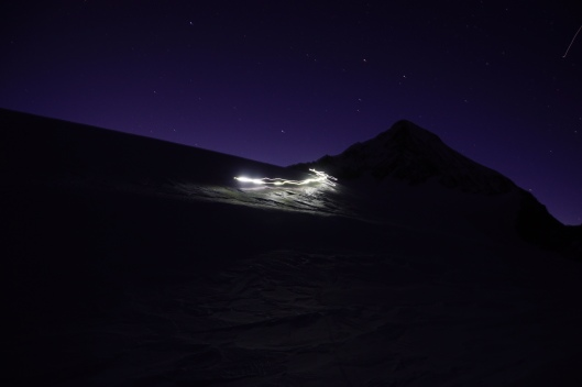 Nachtelijke afdaling richting  Müller Hutte