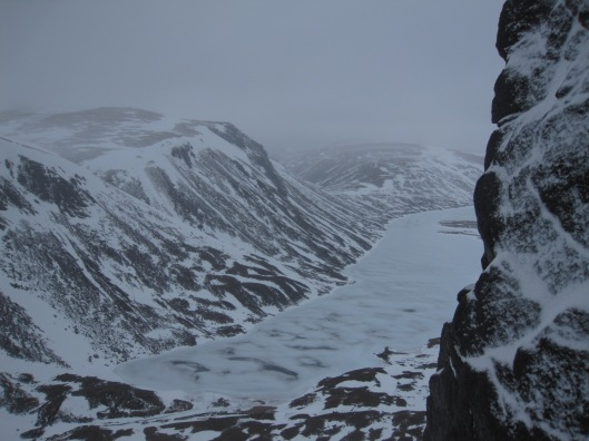 """The beautiful Cairngorms, from halfway up our climb """"Route Major""""."""