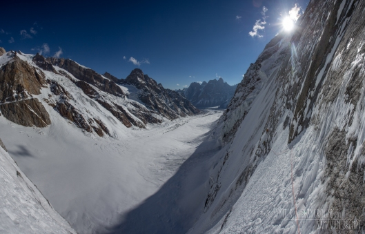 Kivik and Nelson on a sketchy traverse linking the two lower ice fields