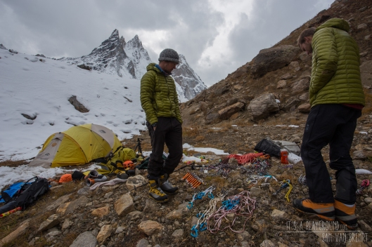 Sorting out food and gear at our Advanced Basecamp